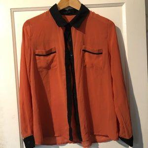 Tops - Sheer button down blouse -peach & black